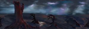 【イラスト】雷をはらむ暗雲の荒野