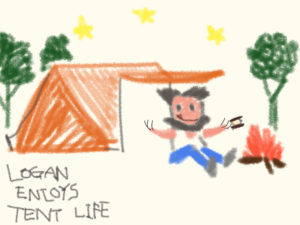 Illustration:Logan enjoys tent life.